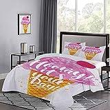 UNOSEKS LANZON - Juego de ropa de cama con diseño de cono de helado, diseño de cereza, color ámbar fucsia y perla de color ámbar