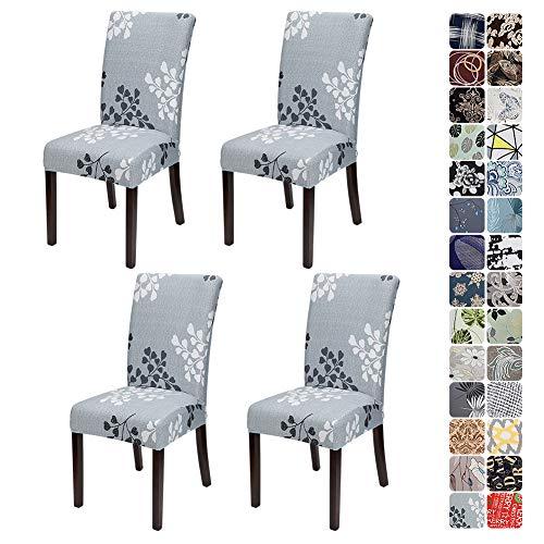 JOTOM Stuhlhussen Universal Stretch Stuhlbezug Elastische Moderne Stuhl Hussen Set Abnehmbare Dekoration Stuhlabdeckung für Esszimmer Party Hotel Restaurant Deko (Grau Blätter, 4er Set)