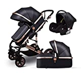 Anti-Shock Luxury Baby Stroller 3 in 1,Babyfond Convertible Bassinet to Toddler Stroller,Reinforced Frame for Safety,Vista Pram,Quick Fold Baby Carriage(2019 Upgraded Version Black PU)