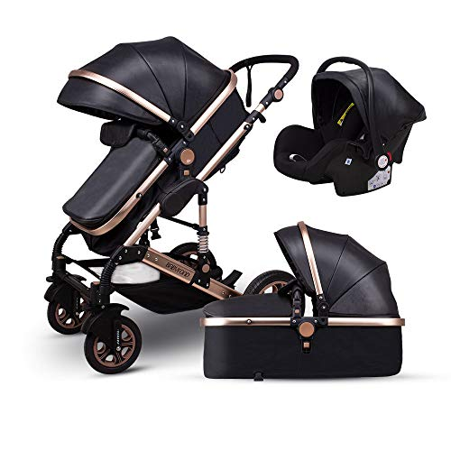 Anti-Shock Luxury Baby Stroller 3 in 1,Babyfond Convertible Bassinet to Toddler Stroller,Reinforced Frame for Safety,Vista Pram,Quick Fold Baby Carriage(2020 Upgraded Version Black PU)