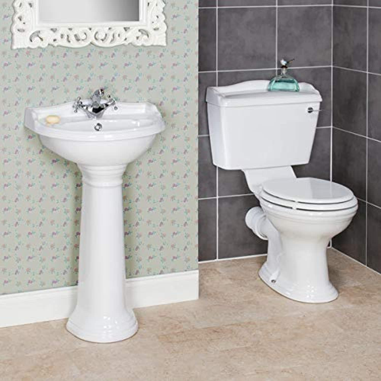 Park Lane Traditional Cloakroom Bathroom Suite Toilet WC 1TH Basin Sink Full Pedestal