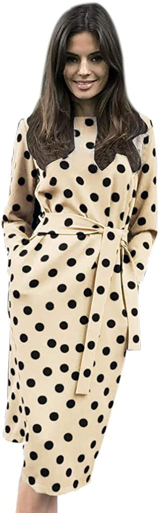 Women's Dots O-Neck Wrap Dress , Pockets Long Sleeve Knee-Length Party Dresses with Belt