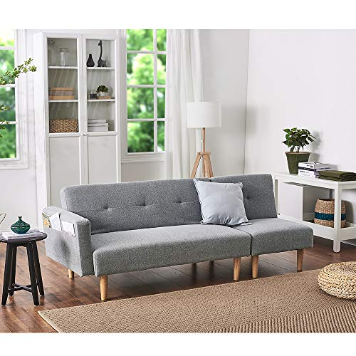 Panana Modern 2 Seater Settee Corner Sofa Bed with Foostool Fabric Love Seat Single Chair Lounge Chair Living Room Chair Guest Room Sofabed (Light Grey, 2 Seater Sofa + Single Chair)
