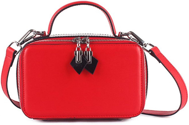 Einfache Retro Double Zipper Hit Hit Hit Farbe Square Leder Schultertasche Messenger Bag Freizeit (Farbe   Rot) B07CWMHPQQ f27c71