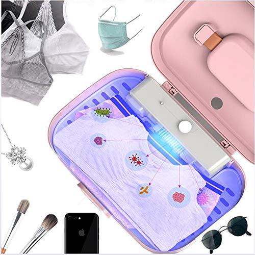 DFEDCLL UV-Sterilisator LED-Desinfektionsgerät, tragbare Desinfektionsbox für UV-Licht, Minitrockner, für Kleidung Zahnbürste Handyschmuck, getötete Bakterien 99,9%,Rosa