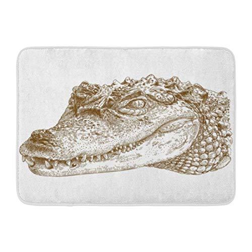 Doormats Bath Rugs Outdoor/Indoor Door Mat Alligator Antique Engraving of Crocodile Head Caiman Etching Vintage Bathroom Decor Rug Bath Mat