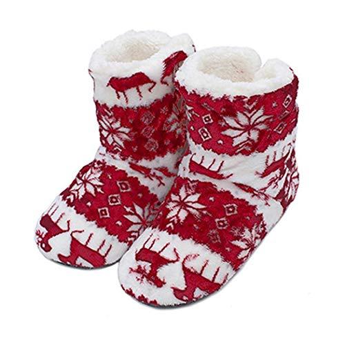 Alisena Women Men Mid Calf Boots Slippers Winter Warm Home Indoor Coral Fleece Soft Christmas Boots
