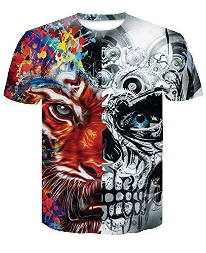 XIAOBAOZITXU T-Shirt Mode Grote Maat Mannen En Vrouwen Unisex Paar Kostuum Tijger Schedel Rood Slim Fit Cool Grappige Zomer Sport T-Shirt