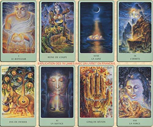 L'authentique Tarot Racines d'Asie - Jeu de 78 Cartes - Cartes de voyance avec Explication des 78 Lames (livret en FR de 98 Pages) - La Grande réflexion intérieure - Jeu Tarot divinatoire egyptien