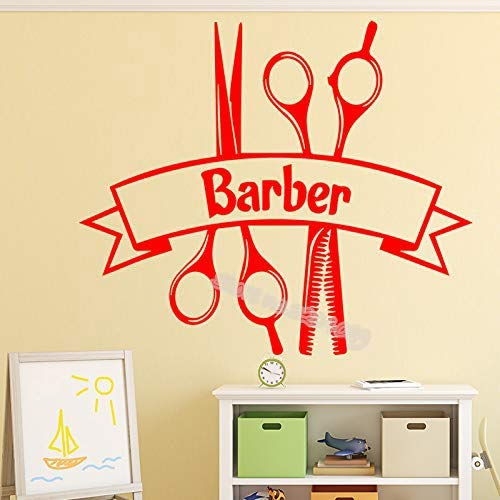 guijiumai Friseur Zitate Vinyl Wandaufkleber Haarschnitt Werkzeug Rasieren Schere Aufkleber Friseursalon Schaufenster Decor Poster 110X95CM