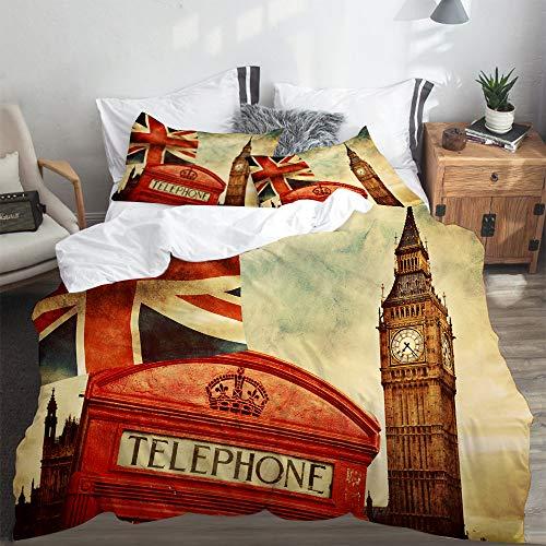 SUHETI Bedding Juego de Edredón,Símbolos de Londres, Inglaterra, Reino Unido. Cabina telefónica roja, Big Ben y la Bandera Union Jack,Nórdico y Fundas de Almohada-(Cama 200 x 200cm)