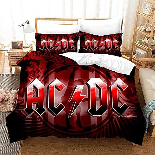 WEKUW Juego de sábanas y Fundas nórdicas Juego de Ropa de Cama Impresas en 3D Rojo AC-DC con Microfibra Suave, 2 Fundas de Almohada, Cremallera Oculta 180x200 cm