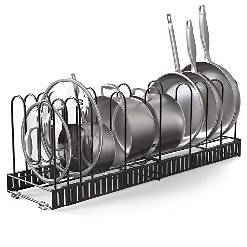 Vdomus extensible pot rack organizer with 4 DIY methods, length adjustable and max extended to 31 inches 13+ pans holder, black metal kitchen cabinet...