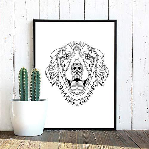 mmzki Golden Retriever Dobermann Pinscher Hund Wand Kunstdrucke Poster Bulldog Basset Hound Beagle Boxer Hund Leinwand Painting30X40CM