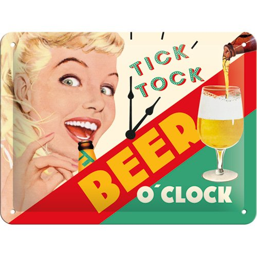 Nostalgic-Art 26213 Say It 50 's Beer o' Clock Lady, Cartel de Chapa 15 x 20 cm Cartel de Chapa 15 x 20 C, M, Metal, 15 x 20 x 0.2 cm