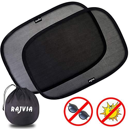 parasole auto adesivo Rajvia Parasole Auto per bambini - Extra scuro con protezione UV certificata - Set di 2 Tendine Parasole autoadesivi per bambini