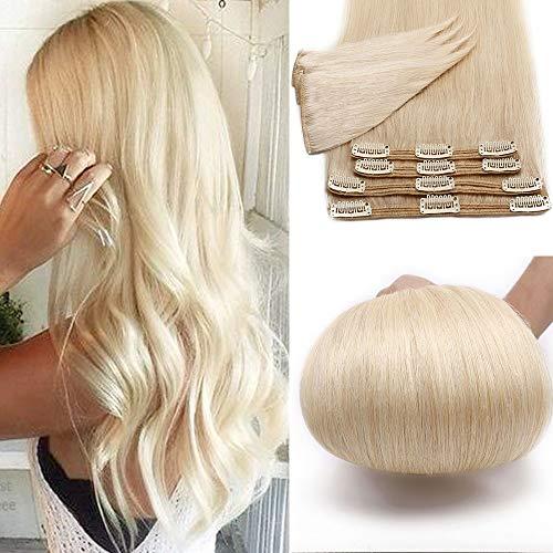 24 Pouces/60CM Extensions A clip Cheveux Naturel 8 PCS Rajout Cheveux Clip Naturel Extension Clip Double Epaisseur - #60 Blond Platine