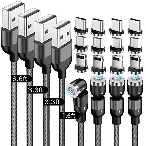 TOPCHK - Cable magnético 3 en 1(4 unidades,1,6 pies/3,3 pies/6,6 pies),cable magnético de nailon trenzado,cable telefónico magnético con rotación de 360°y180° con micro USB tipo C y iProduct n