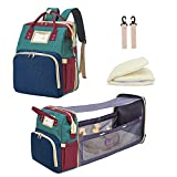 ALVABABY Diaper Bag Backpack with Travel Bassinet, 3 in 1 Nappy Bag Changing Station, Detachable Foldable Baby Bed for Bady Toddler, Travel Baby Bag with Crib, Shade Cloth, Mattress, MBP01