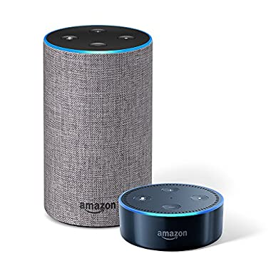 Echo (2nd Generation) – Heather Grey Fabric + Echo Dot