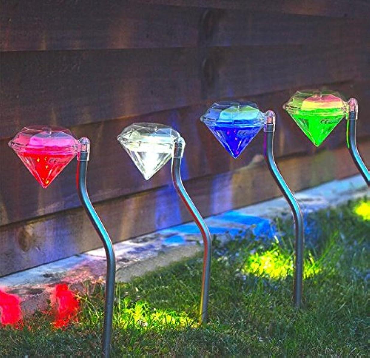 ジャンル注釈予約wayward 4×ステンレス鋼ソーラーダイヤモンドステークライト - 色の変更LED