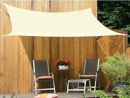 Floracord 06-77-36-00 HDPE Vierecksonnensegel 3,6 x 3,6 m weizen wind- und wasserdurchlässig inklusive Zubehör mit dauerelastischen Spanngurten