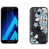 YKTO Cristal Templado + Funda para Samsung Galaxy A3 A320 2017 4.7 Pulgadas Fina 3D Moda Dibujos Antigolpes Caso [2 Piezas] HD Transparente Protector Pantalla Adapta Perfectamente Flor Azul