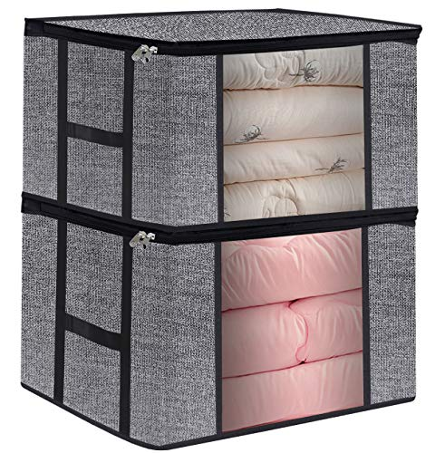 Clothing Storage Bags, Fabric Clothes Organizer Storage Bins Box for Comforters, Blankets, Bedding, Foldable with Sturdy Zipper and Clear Window 2 Pack (Black)