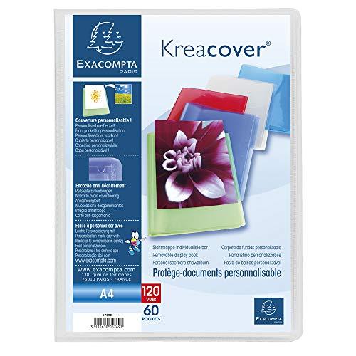 Exacompta 5769E Porte vues Kréa cover chromaline couverture personalisable en prolypropylene semi rigide pochettes interieures lisse haute transparence 60 pochettes et 120 vues Coloris aléatoires
