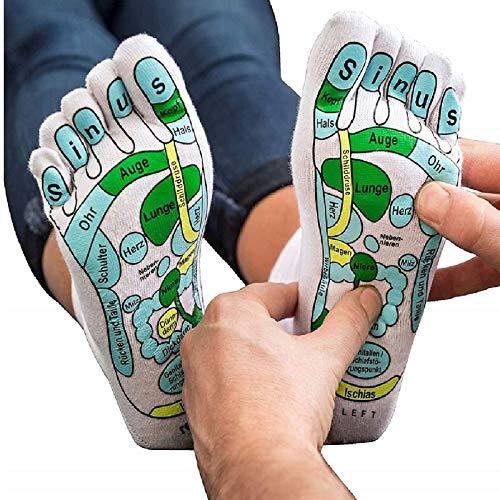 Xikangshun Akupressur-Reflexzonen-Socken, Fußmassage-Reflexionsbereich Schematische Socken, Reflexzonen-Markierungssocken, Fußdruckpunkt-Akupressur-Massage-Hilfssocken, Multifunktionssocken (2 Paare)