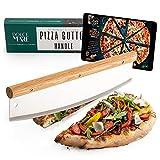 Dolce Mare® Coupe-pizza - Couteau berceau polyvalent avec manche en chêne fin - Couteau à pizza avec lame en acier inoxydable extra aiguisée - Comprend une protection de lame et des instructions.