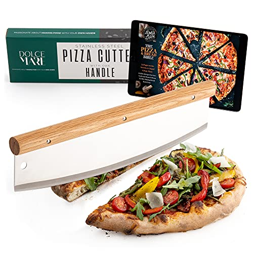 Dolce Mare® Pizza Cutter - Versatile pizza knife with fine oak handle - Mezzaluna chopper with extra sharp stainless steel blade - Includes blade protection & instructions