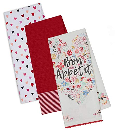 Romantic Themed Decorative Cotton Kitchen Towels Set in Red and White Print | 2 Hearts Design Towels and 1 Waffle Towel for Dish and Hand Drying | Total 3 Items