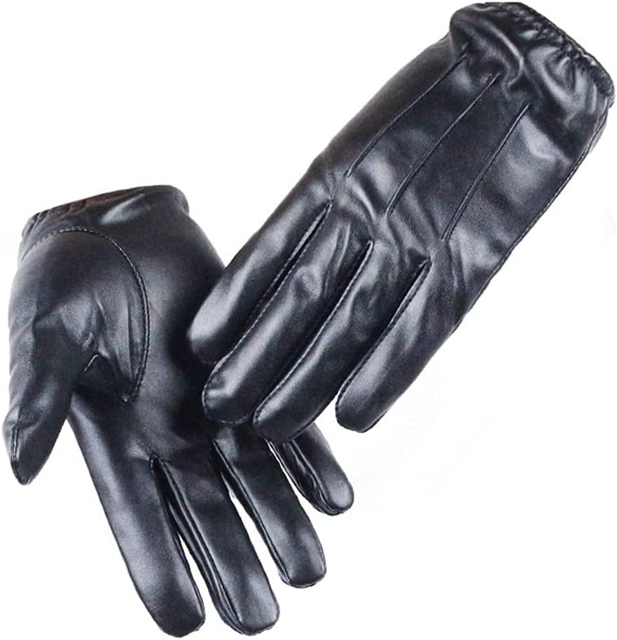 WBDL Driving Men's PU Leather Winter Autumn Driving Keep Warm Gloves Cashmere Tactical Gloves Black Outdoor Sports (Size : X-Large)