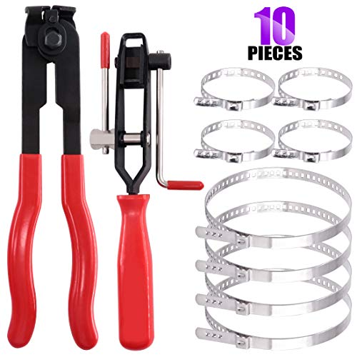 Swpeet 10Pcs CV Joint Boot Clamp Pliers with CV Boot Clamps Kit, Ear Boot Tie Pliers, Car Band Tool Kit, Automotive Hose Axle Plier CV Clamp Tool CV Joint Banding Tools for Most Cars