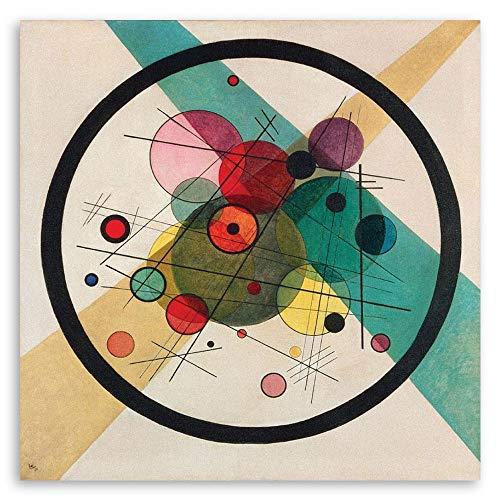 LegendArte Stampa su Tela - Cerchi in Un Cerchio - Wassily Kandinsky cm. 90x90 - Quadro su Tela, Decorazione Parete