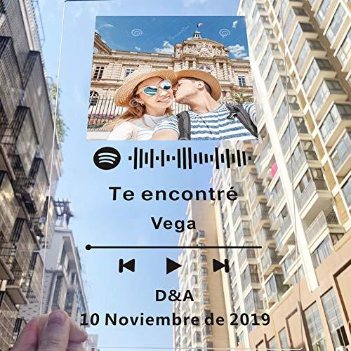 Targa personalizzata in acrilico per anniversario, motivo: copertina di un album visualizzata come Spotify o come mini Polaroid