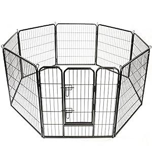 TRESKO Parc d'extérieur pour Chiens et animalerie | Enclos en métal pour Chien | Cage pour Chiens Chiots Animaux de Compagnie | Circonférence = 640 cm