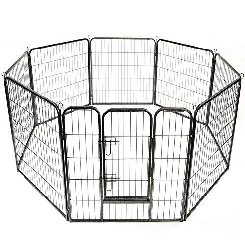 TRESKO® Welpenlaufstall 80x80cm Freilaufgehege Welpenauslauf Hundelaufstall Tierlaufstall Hunde, mit Tür und wetterfester Hammerschlag-Lackierung
