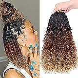 Beverlee Boho Box Braids 8 Packs Goddess Box Braids 14 Inch Bohemian Box Braids Crochet hair Crochet Box Braids with Curly Ends Pre-looped Synthetic Crochet Hair for Black Women 128 Strands 53#