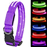 MELERIO LED Dog Collar Flashing Light Up with USB Rechargeable & 100% Waterproof, Super Bright Flashing Dog Collar with 10 Hours Working Time