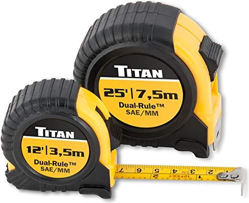 Titan 10903 2-Piece Combo Dual Rule Tape Measure Set (12' & 25'). Pack of 4