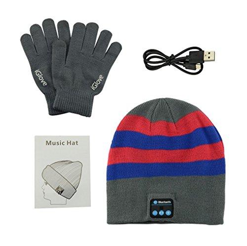 Anpress Bluetooth Beanie Koptelefoon + Touchscreen Handschoenen, Wasbare Winter Gebreide Draadloze Muziek Headset Hoed Mic Stereo Luidspreker Hardlopen, Skiën, Schaatsen, Heren Dames