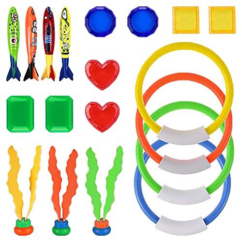 sinzau Schwimmbad Spielzeug, Tauchspielzeug, Enthält Tauchring, Tauchjuwel, Tauchen Seetang, Tauchtorpedo, 19 Stück