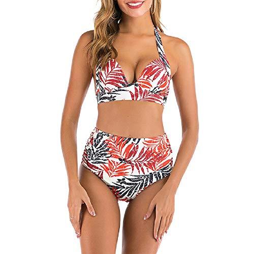 Nobrand Traje de baño de Cintura Alta para Mujer Bikini con Estampado de Hojas Rojas Traje de baño con Vendaje Halter para Mujer Traje de baño sin Espalda para Mujer