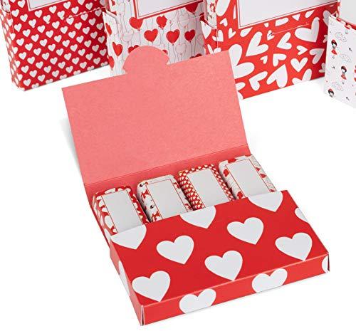 Netti Li Jae ® Aufkleber Set inkl. Mini Schachteln für Merci Schokolade – für 5 personalisierte Geschenke – persönliche Geschenkidee – Dankeschön Geschenke (Herzen)