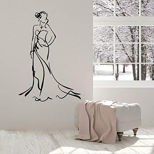 Hermosa mujer calcomanía de pared vestido de dama belleza moda vinilo ventana pegatina habitación de niña decoración del hogar tienda de ropa Mural 42x60 cm