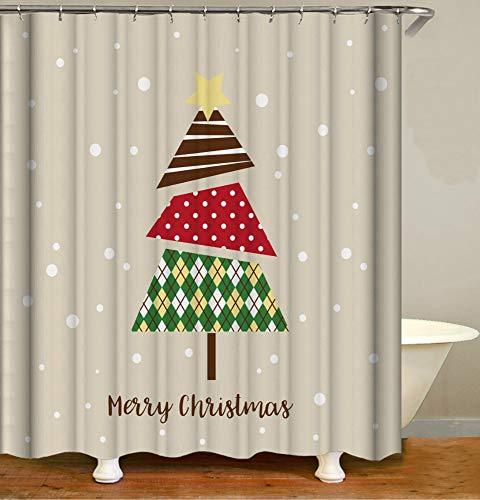 Kerstboom cartoon kerst eenvoudig douchegordijn, badkamergordijnen Waterdicht schimmelbestendig