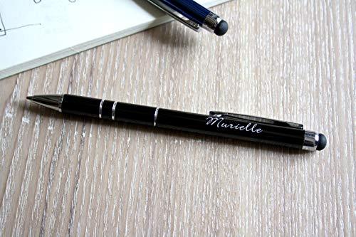 Personalisierbarer Kugelschreiber aus schwarzem Metall, mit Gravur Ihres Vornamen oder Text, personalisiertes Geschenk