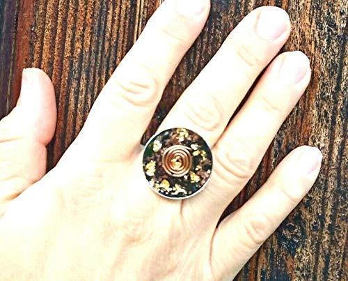 Orgonita Orgonita Anillo espiral, Oro 24K, Turmalina negra, Shungita, hecha a